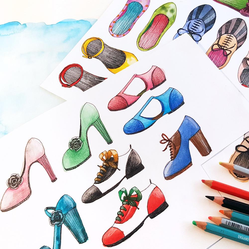 illustration chaussure lyon foulard motif