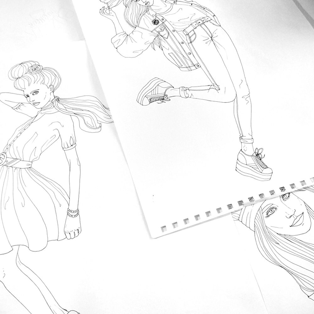 illustration lyon foulard motif