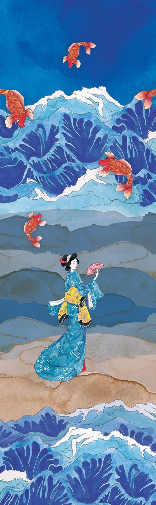 Japonais illustration aquarelle droite