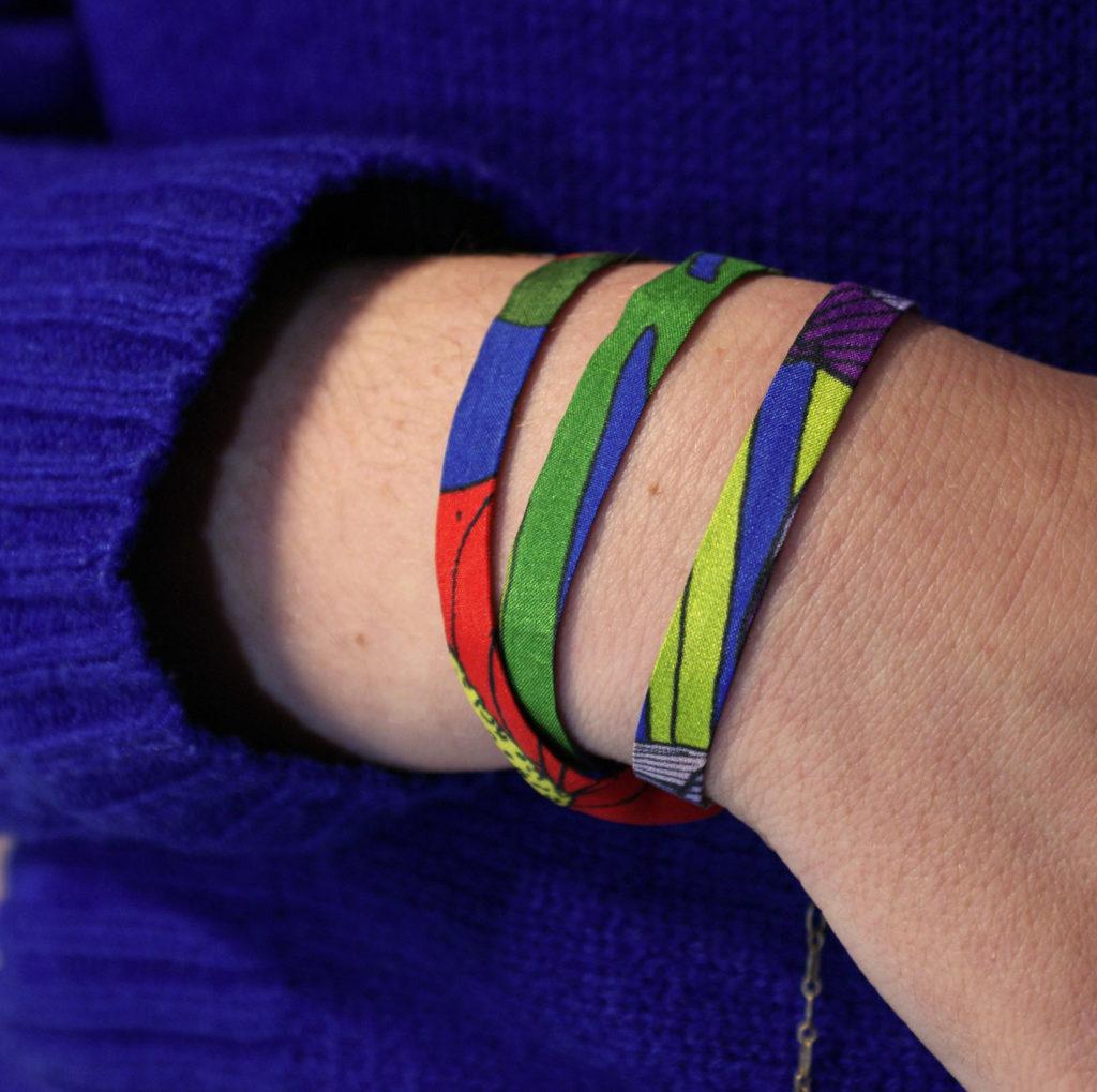 bracelet bleu soie lyon