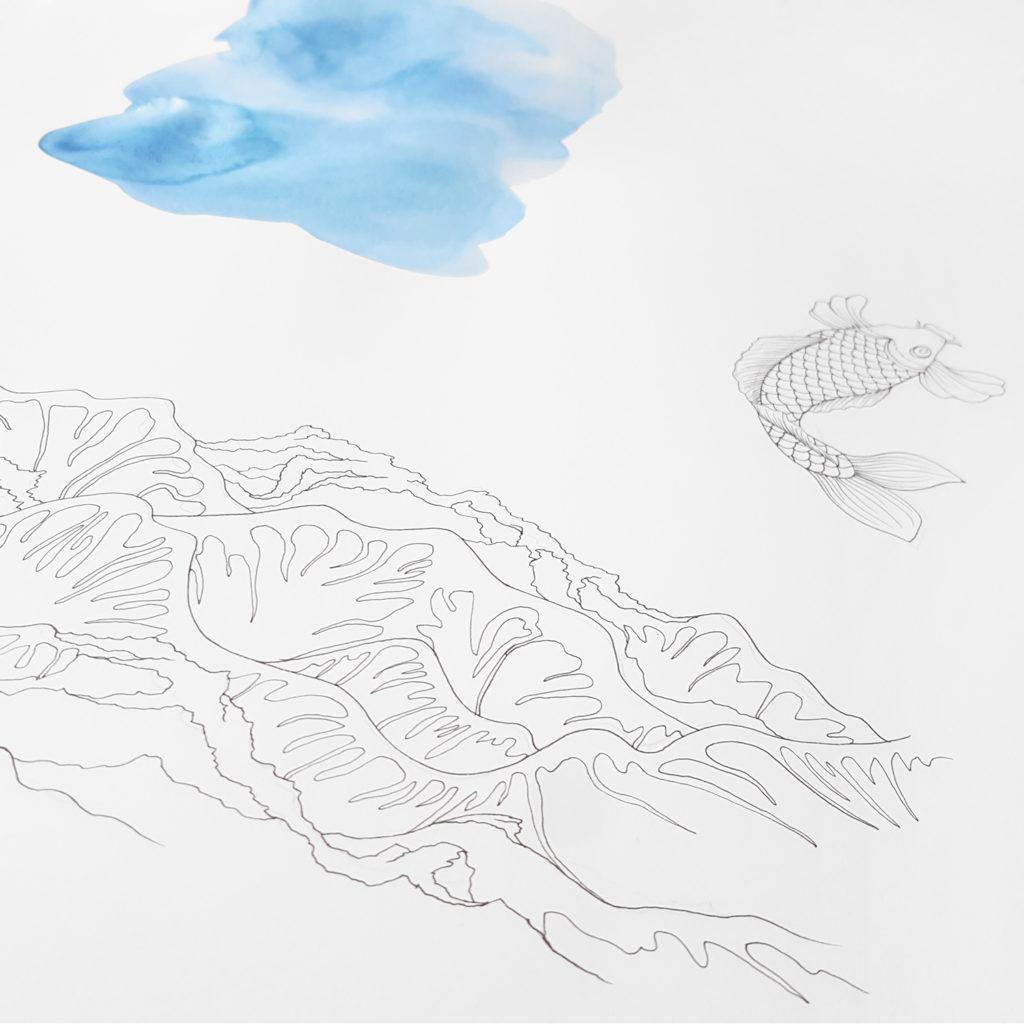 dessin aquarelle japon vague