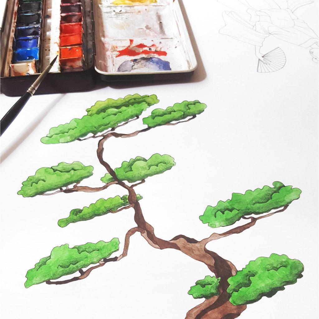 dessin arbre aquarelle japon
