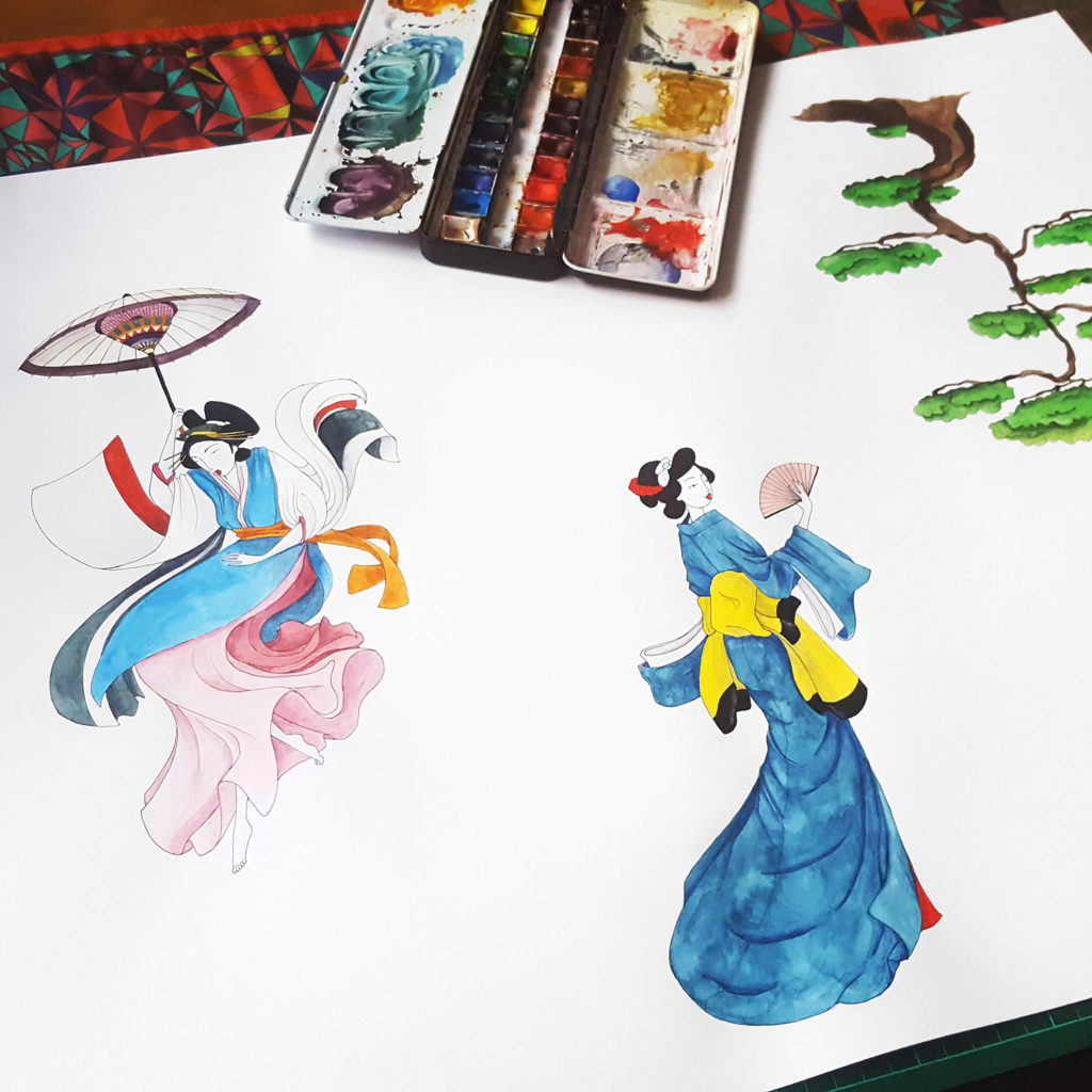 dessin femme aquarelle japon