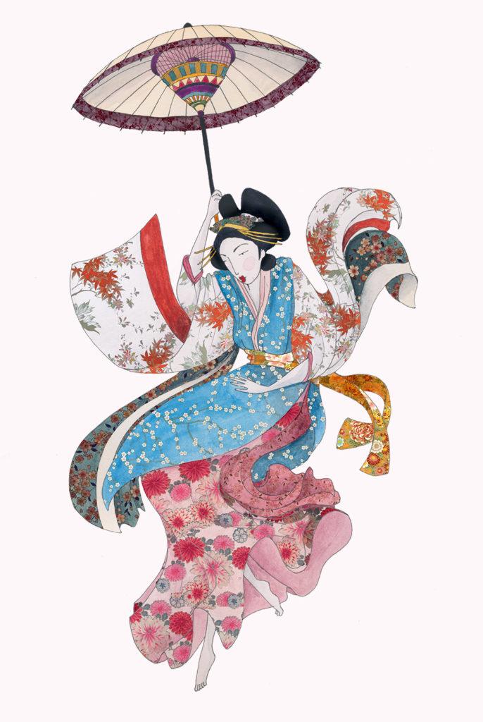 japonais illustration femme aquarelle copie