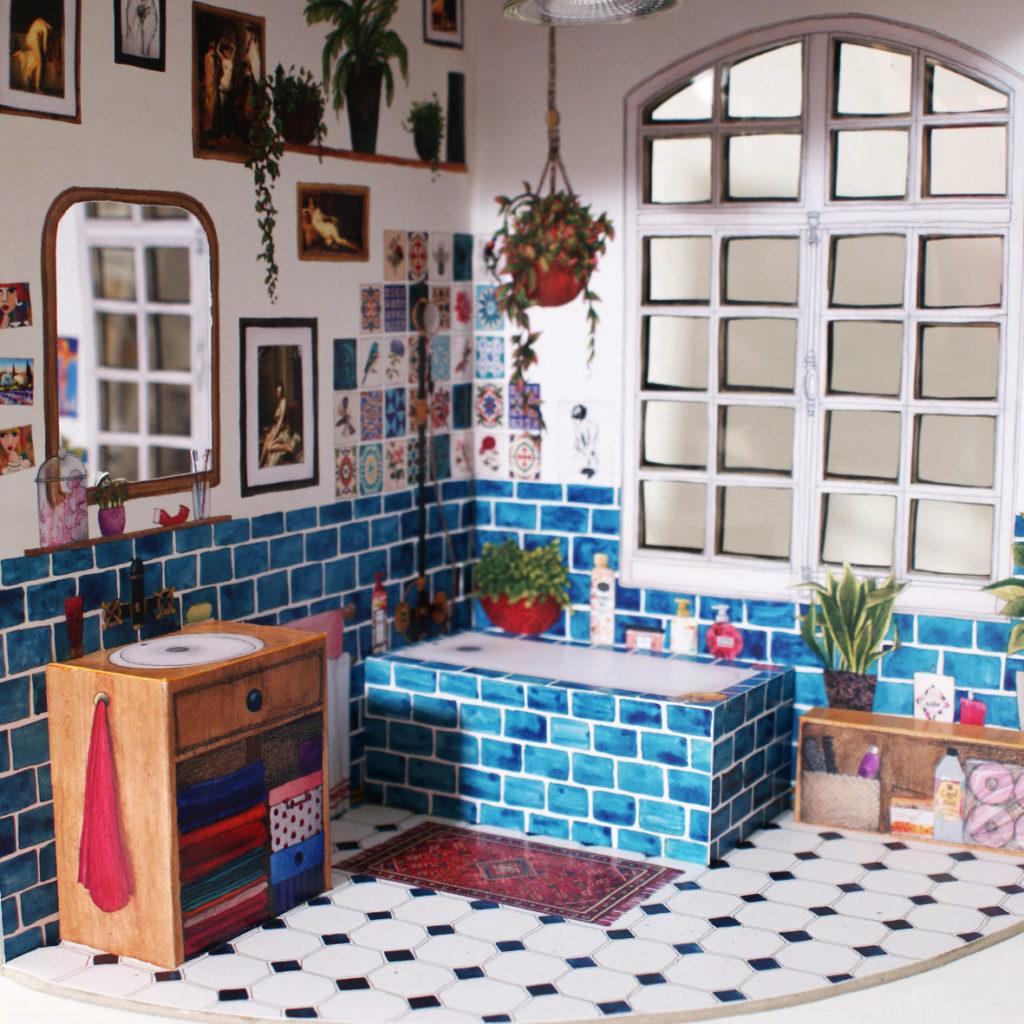 lampe salle de bain aquarelle deco