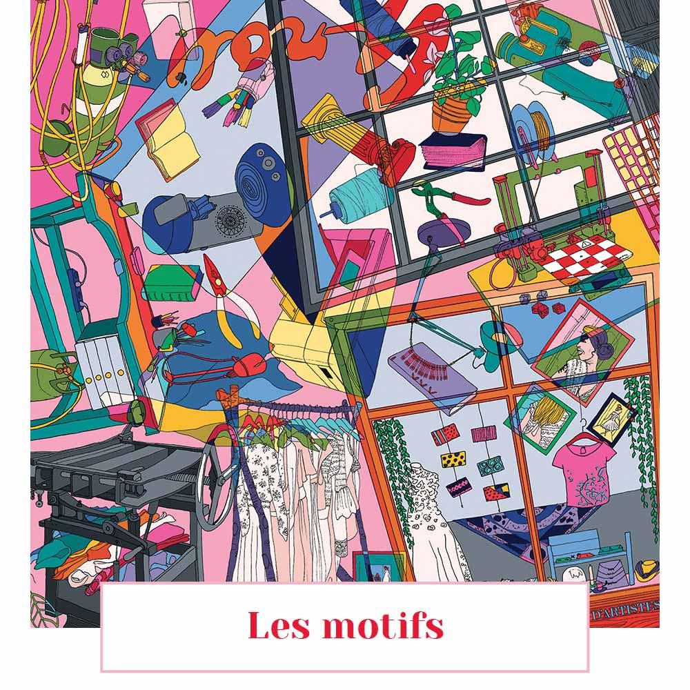 book motif femme soie laine