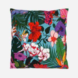 coussin tropical flowers velour lyon femme decoration2