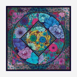 foulard le jardin d'elise turquoise carre femme lyon soie