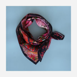 foulard le jardin d'elise rose nouer carre femme lyon soie