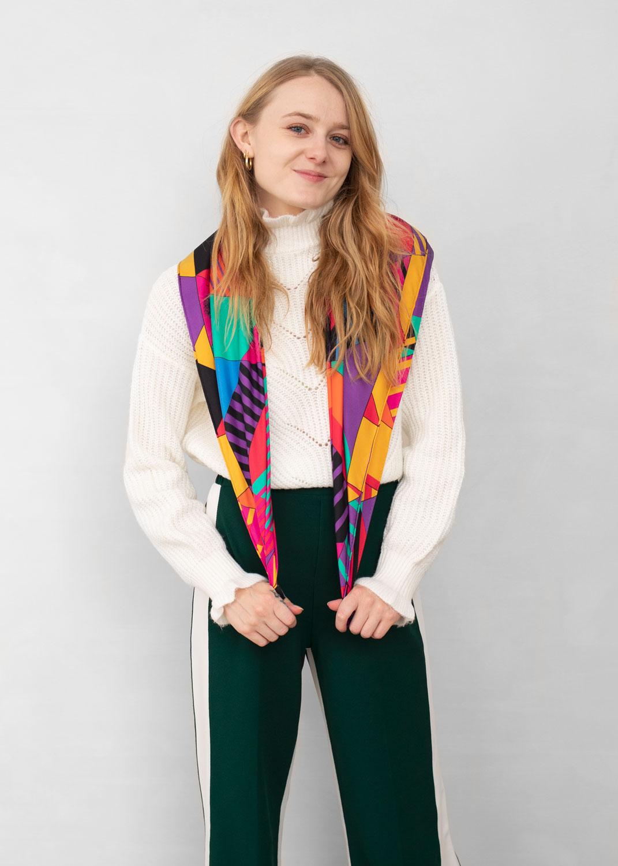 foulard lyon femme carre porter 2 soie relativite pop4